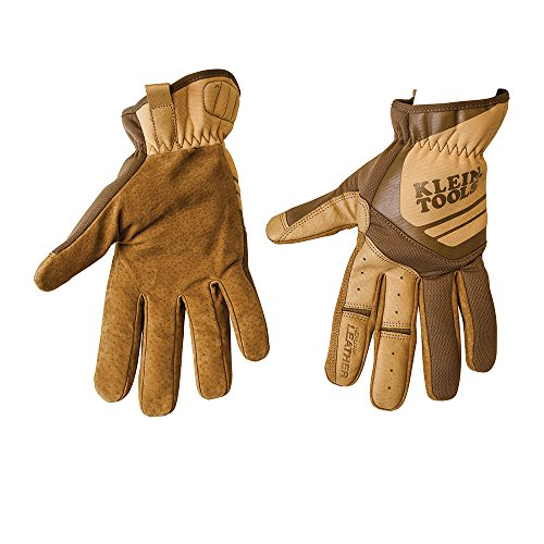 Klein Tools Journeyman Leather Utility Gloves, Large 40227, Brown