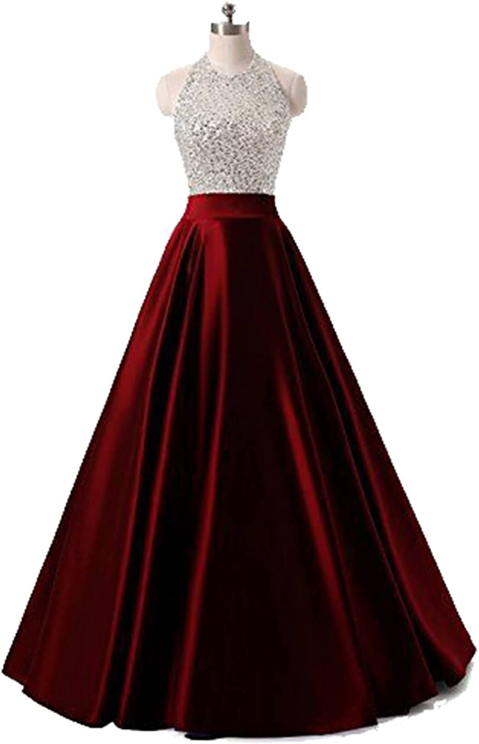 Halter Beaded Bodice Evening Party Dress Floor Length Satin Crystal Prom Gowns