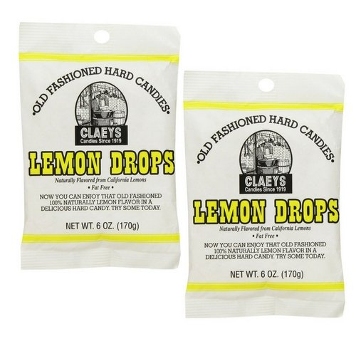 Claeys Old Fashioned Hard Candies Lemon Drops 6 oz Pack of 2