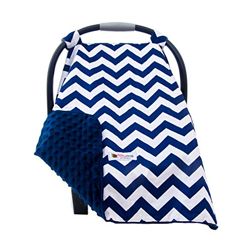 Carseat Canopy Cover for Babies - Soft Minky Carrier Cover for Baby Boys & Girls - Perfect Baby Shower Gift & Ideal for Winter