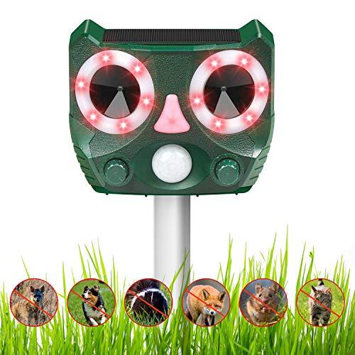 Mansso Tiervertreiber Ultraschall Solar Katzenschreck mit Bewegungsmelder und Ultraschall Blitz für Katzen, Mäuse, Hunde, Ratte, Dachse, Füchse, Kleine Nagetiere und Vögel