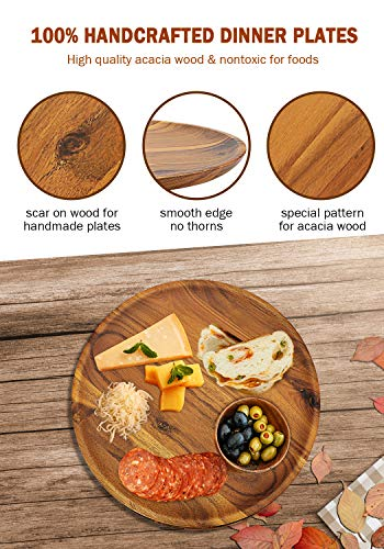 Acacia Wood Dinner Plates, AIDEA 11 Inch Round Wood Plates Set of 4, Easy Cleaning & Lightweight for Dishes Snack, Dessert, Unbreakable Classic Charger Plates - Best Christmas Gift