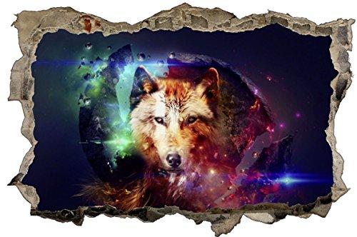 Wolf Abstrakt 3D-Optik Wandtattoo 70 x 105 cm Wandbild Sticker Aufkleber D069
