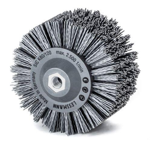 Rundbürste mit Kunststoffkörper PP, grau | Durchmesser: 140 mm, 18x 7 Reihen, Gewellt, 1,2 mm dick | Aufnahme: M14, Körnung: SIC 80, Fadenstärke 1,2 mm