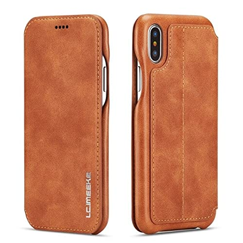 para iPhone 12 Mini Light Brown Mood Premium Wallet Funda para el Soporte de la Tarjeta SE2 XR X XS Flip Funda de Cuero para 11 12 Pro MAX 7 8 6S 6 Plus 12 Mini