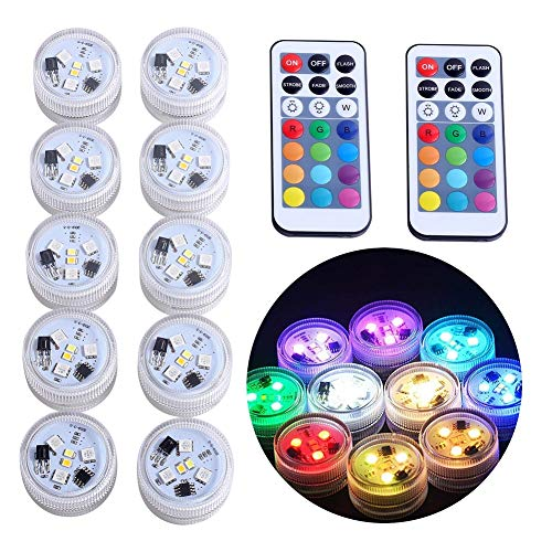 10pcs Unterwasser Teelicht LED Kerzen mit 2 Fernbedienung, warmweiße RGB Farbwechsel, wasserdicht Stimmungslichter für Teich/Brunnen/Vase/Hochzeitsfeier/Tischdekoration (RGBW-Upgraded)