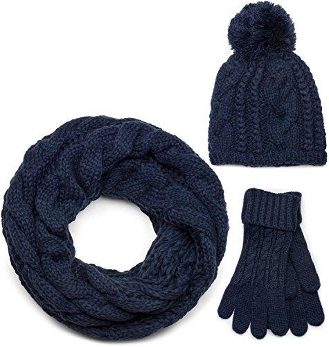 styleBREAKER set coordinato di sciarpa, cuffia e guanti, sciarpa in maglia con motivo intrecciato con cuffia a pon pon e guanti, donna 01018208, colore:Blu scuro/Loop/Sciarpa