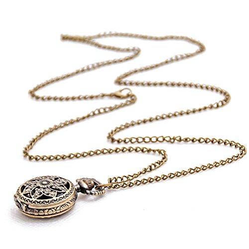 Loto Reloj de Bolsillo - SODIAL(R) Moda Vintage Retro Bronce Cuarzo Reloj de Bolsillo Collar Pendiente de Cadena (Loto)