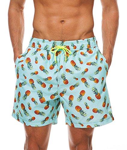 MODCHOK Herren Strandhosen Kurze Hosen Sommerhosen Badeshorts Drucken mit Kordelzug Schnelltrocknend 1-Ananas M