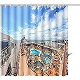 Cortina De Ducha MSC Cruise Liner Julio Lujoso Crucero Msk Musica Cubierta Superior con Un Solarium Conjuntos De Baño De Poliéster con Ganchos 122X183CM