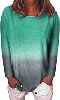 ANJUNIE Women's Gradient Color Long Sleeve T-Shirt Tunic Blouse Comfy Casual Tops