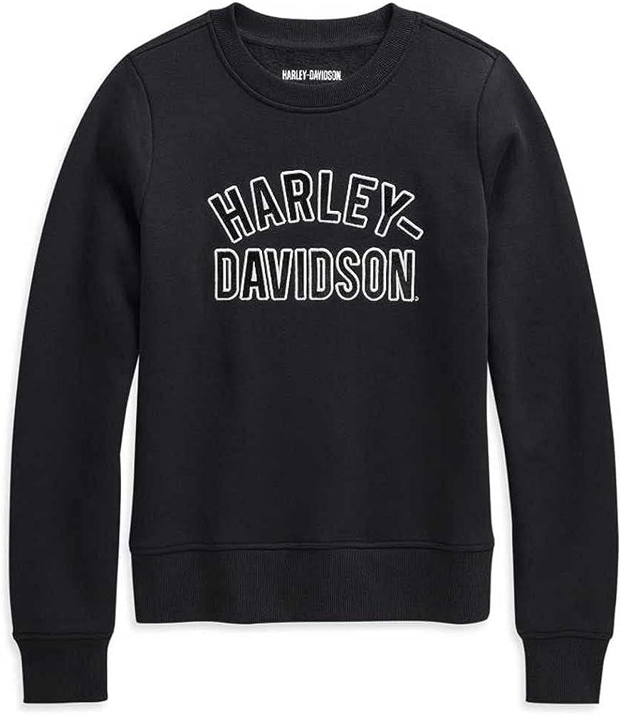 Harley-Davidson Women's Applique Varsity Pullover Sweatshirt, Black 96232-21VW