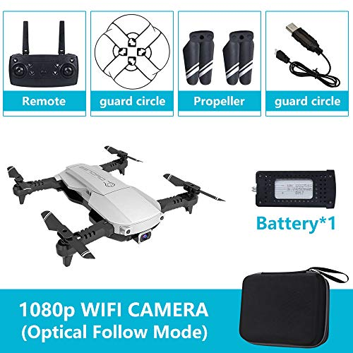 SSSabsir Drone x pro 5G Selfie WIFI FPV with 4K HD Dual Camera Foldable RC Quadcopter 1080P Silver 1 battery