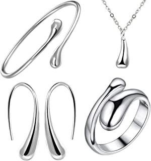 XMNDS 925 Sterling Silver Necklace Earring Ring Bangle Set for 4 Pcs (Silver)
