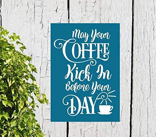 Ced454sy Gift Kan Uw Koffie Kick in Voor Uw Dag Grappige Koffiebord Koffiebar Teken Muur Decor Primitieve Houten Teken Handgedrukt