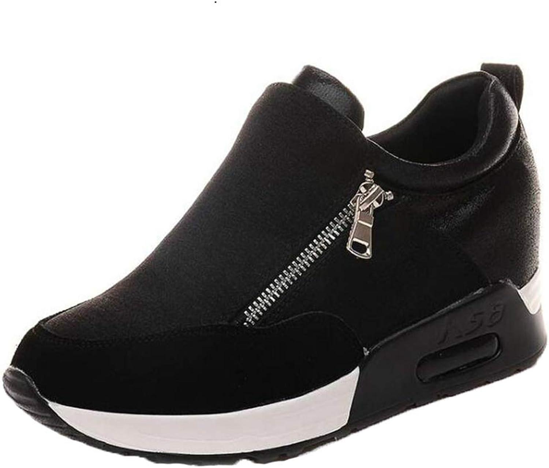T-JULY Girl Slip On Height Increasing Vulcanized shoes Women High Heels Wedges Hidden Heel Platform Sneaker