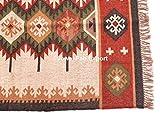 Jewel Fab Art Indischer Jut-Teppich, indischer Vintage-Teppich, Bodenmatte, handgewebt, Kelim-Teppich, handgefertigt, natürliche Jute, Dari-Gebetsmatte, Wohnzimmer, Juteteppich, 70% Jute & 30% Wolle - 2