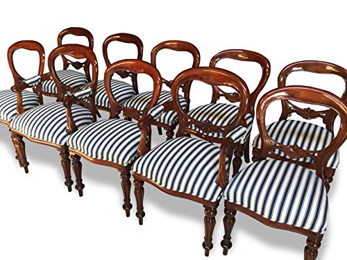 CMC Designs, antigüedades y pulido francés, juego de sillas de comedor estilo victoriano con respa