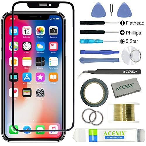 ebuyerfix® Compatibel scherm voor buitenste glazen lens vervanging voor iPhone X 5.8'' met 17 stuks vervangende kits, 1 x rol van 2mm dubbelzijdig plakband, 1 x rol gouden molybdeendraad, 1 x gebogen pincet, 1 x hoge kwaliteit reinigingsdoek, 1 x zuignap