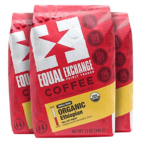 Equal Exchange Organic Whole Bean Coffee, Ethiopian, 12-Ounce Bag (Pack of 3)