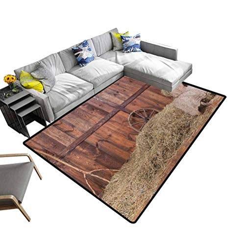 Home Decor Rug Barn Wood Wagon Wheel, Solid Rectangular Area Rugs Rural Old Horse Stable Barn Interior Hay and Wood Planks Image Print Decorative and Best Gift for Children Brown Dust, 5 x 8 Feet