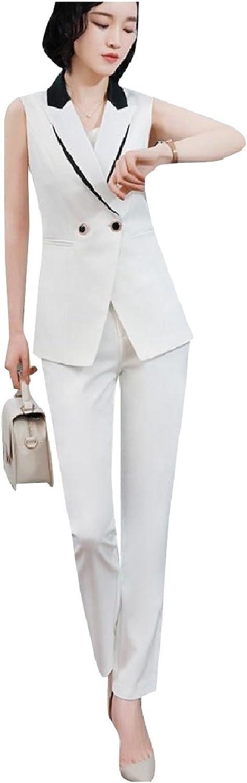 Winwinus Women Blazer Camisole Vest Splicing Office 3 Pieces Outfits Suit