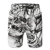Men's Roses Horror Skull Graphic Snake Tattoo Quick Dry Beach...