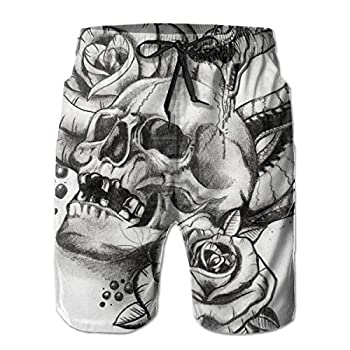 HIPSTER STYLE Boardshorts Men s Roses Horror Skull Graphic Snake Tattoo Swim Trunks Quick Dry Waterproof Bathing Suits Beach Short with Mesh Lining