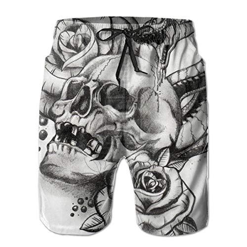 Men's Roses Horror Skull Graphic Snake Tattoo Quick Dry Beach Boardshort Swim Trunks Swimming Shorts
