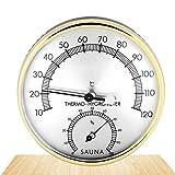 Higrómetro Termómetro Sauna,Accesorio para Sala de Sauna,2 en 1 Termómetro de Metal,TermóMetro para Sala de Sauna,Higrómetro termómetro analógico,Termómetro de Interiores y medidor de Humedad
