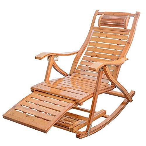 Bamboe Schommelstoel, Klapstoel Opklapbed Eenpersoonsbed Eenvoudig Dutje Lunchpauze Bed En Stoel Voor Volwassen Ouderen Tweeërlei Gebruik