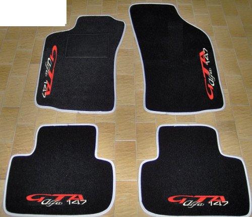 Set complet de tapis de voiture noirs avec bord blanc, sur mesure, broderie à fil rouge