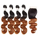 Supbeauty Ombre Brazilian Hair Body Wave Hair with Closure (12 12 14 14+10,T1B/30) 2 Tone Ombre Body Wave Bundles with...