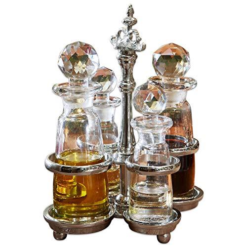 Loberon Menage ecorlette, messingglas, H/B/D ca. 18/14 / 12 cm, helder/zilver