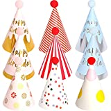 BESTZY 9pcs Cappellini per Feste Compleanno Bambini Cappellini Carta Colorati Party Cupcake Topper Compleanno Accessorio Decorazione Festa