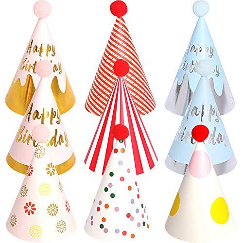 BESTZY 9PCS Partyhüte Geburtstag Dekoration Set Happy Birthday Partyhüte Party Kegel Hüte mit Pom Poms(18*11cm)