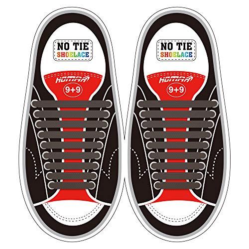 Homar No Tie Lacci per scarpe per bambini e adulti - Impermeabile in silicone elastico piatto Laces Athletic scarpa da corsa con multicolore per Scarpe Sneakerboots bordo e scarpe casual (Adult Size Brown)