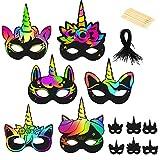LAMEK 24 Hojas Unicornio Papel de Rascar, Pulseras para Tarjetas de Rascar con Lápices de Madera Tablero de Dibujo de Rascar de Arco Iris Scratch Art Manualidades Creativas para Niños, 6 Diseños