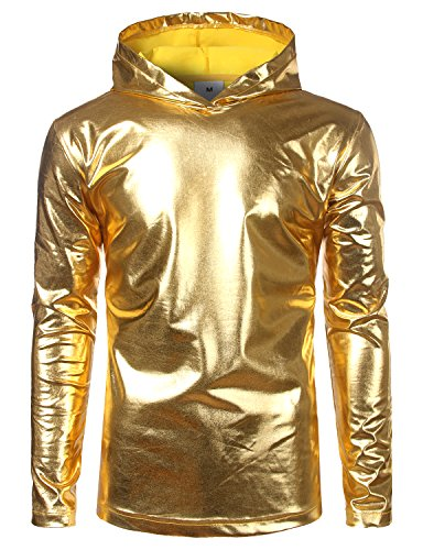 SOWTEE Mens Metallic Shiny Disco Nightclub Style Long Sleeve Pullover Hoodie XX-Large Gold