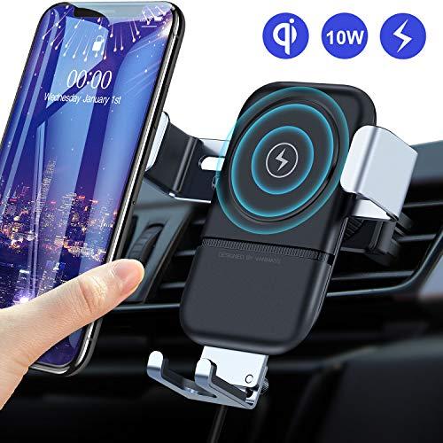 VANMASS Qi Ladestation Auto Handyhalterung Wireless Charger Auto Lüftungs Kfz Handyhalter fürs Auto 10W Qi Ladegerät fast Charge Automatisch für iPhone 11/XS/XR /8 Samsung S10/S9/S8 und alle Qi Geräte