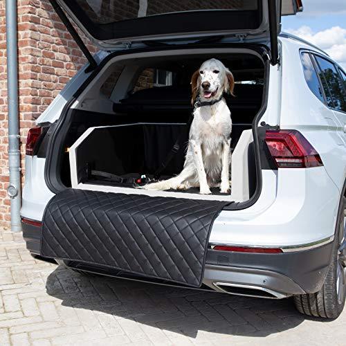 CopcoPet Two Autohundebett Hundebett Kofferraum Transportbett Autoschondecke (100 x 80 x 38 cm Anschnallsystem, Schwarz-Weiß)