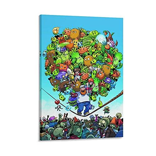 Poster di gioco Piante contro Zombies Poster decorativo su tela da parete per soggiorno, camera da letto, 60 x 90 cm