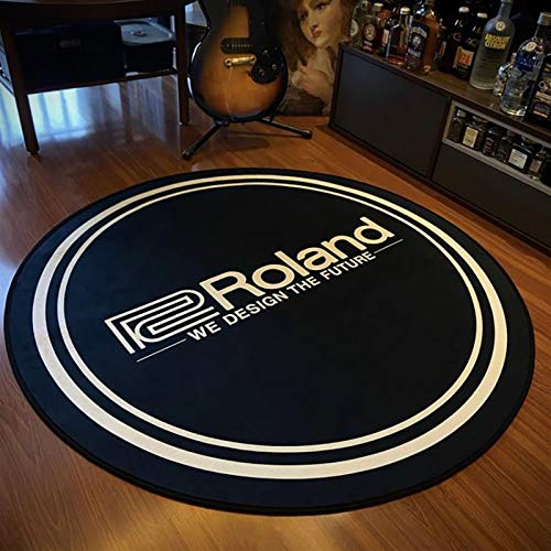 YSJJQSC Teppich 120 cm Coole runde fläche teppiche Wohnzimmer gedruckt rutschfeste Doormat Halle Musik Home mats für barboden Dekoration Startseite Einrichtung