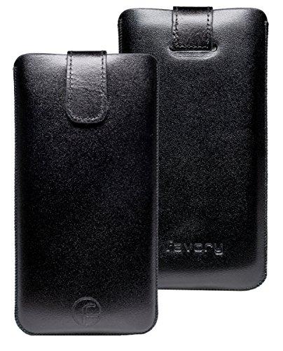 Original Favory Etui Tasche für Bea-fon SL340 / Beafon SL340i | Leder Etui Handytasche Ledertasche Schutzhülle Hülle Hülle Lasche mit Rückzugfunktion* in schwarz