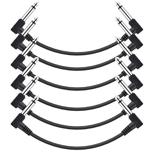 ammoon Gitarren Klinkenpatchkabel, 6,35 mm Instrument Patchkabel für Gitarre/Bass Effektpedale 15cm 1/4 Zoll rechtwinklig TS Plug PVC Jacke, (6-Pack, Schwarz)