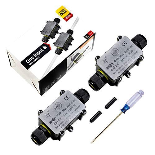Abzweigdose IP68 Verteilerdose Wasserdichte Kabelverbinder Klemmdose für Aussen 2-Wege für Ø4mm-12mm Kabeldurchmesser (2 Stück)