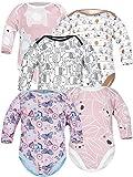 Sibinulo Jungen Mädchen Body Langarm 5er Pack Rosa Bären Rosa Wiese Rosa Bären auf den Blättern Beige Wiese Schwarze Elefanten 80(9-12 Monate)