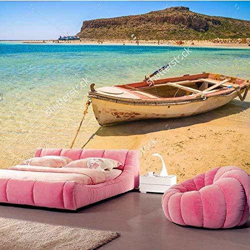 Tapete der natürlichen Landschaft, Fischerboot angekoppelt, um auf dem Strand von Kreta, Foto für Wohnzimmerschlafzimmerwand-Vinyltapete die Küste entlang zu fahren-360 * 280cm