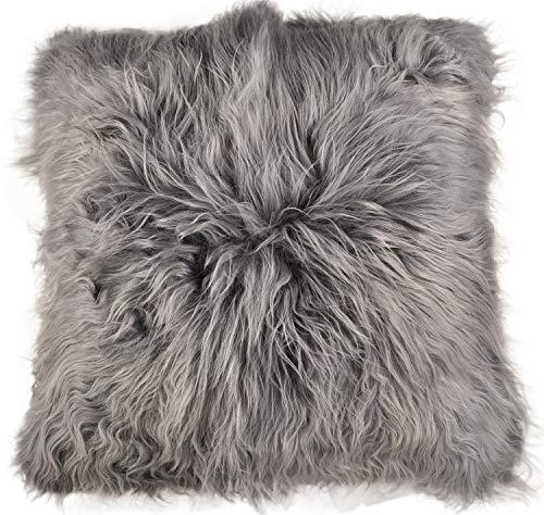 Generieke lamsvel vloerkussen Pouf 80 x 80 cm grijs XXL langwollig lamsvel zitkussen van echt IJsland lamsvel van KUHFELLE online