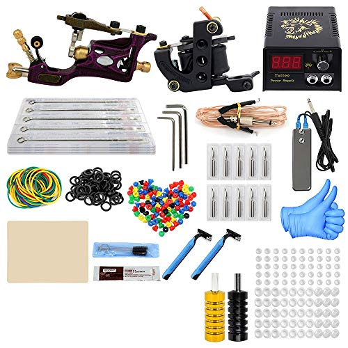 ZWEN Tattoo Kit 2 Machines Pistolet De Tatouage Alimentation Tatouage Grips Body Art Outils Complets Fournitures Set Tattoo Accessoires